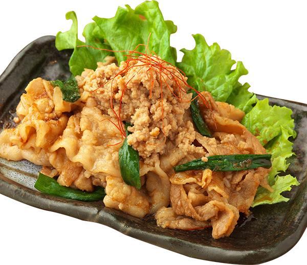 肉味噌添え バラ肉と九条ねぎ皿